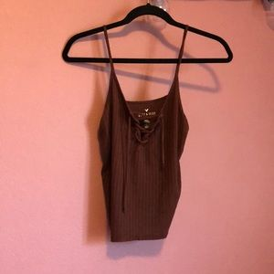 lace up front tank top